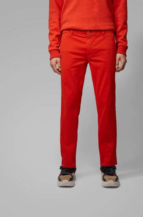 Slim-fit casual chinos in brushed stretch cotton, Dark Orange