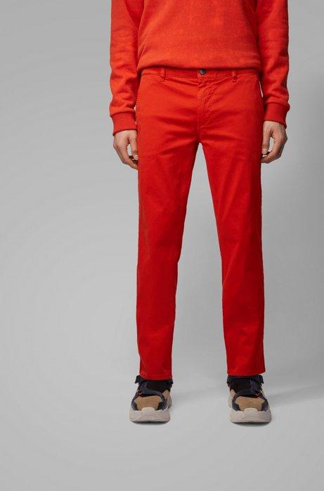 Chino casual slim fit in cotone elasticizzato spazzolato, Arancione scuro