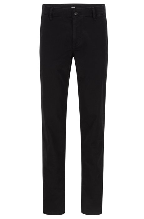 Regular-Fit Casual-Chino aus angerauter Stretch-Baumwolle, Schwarz