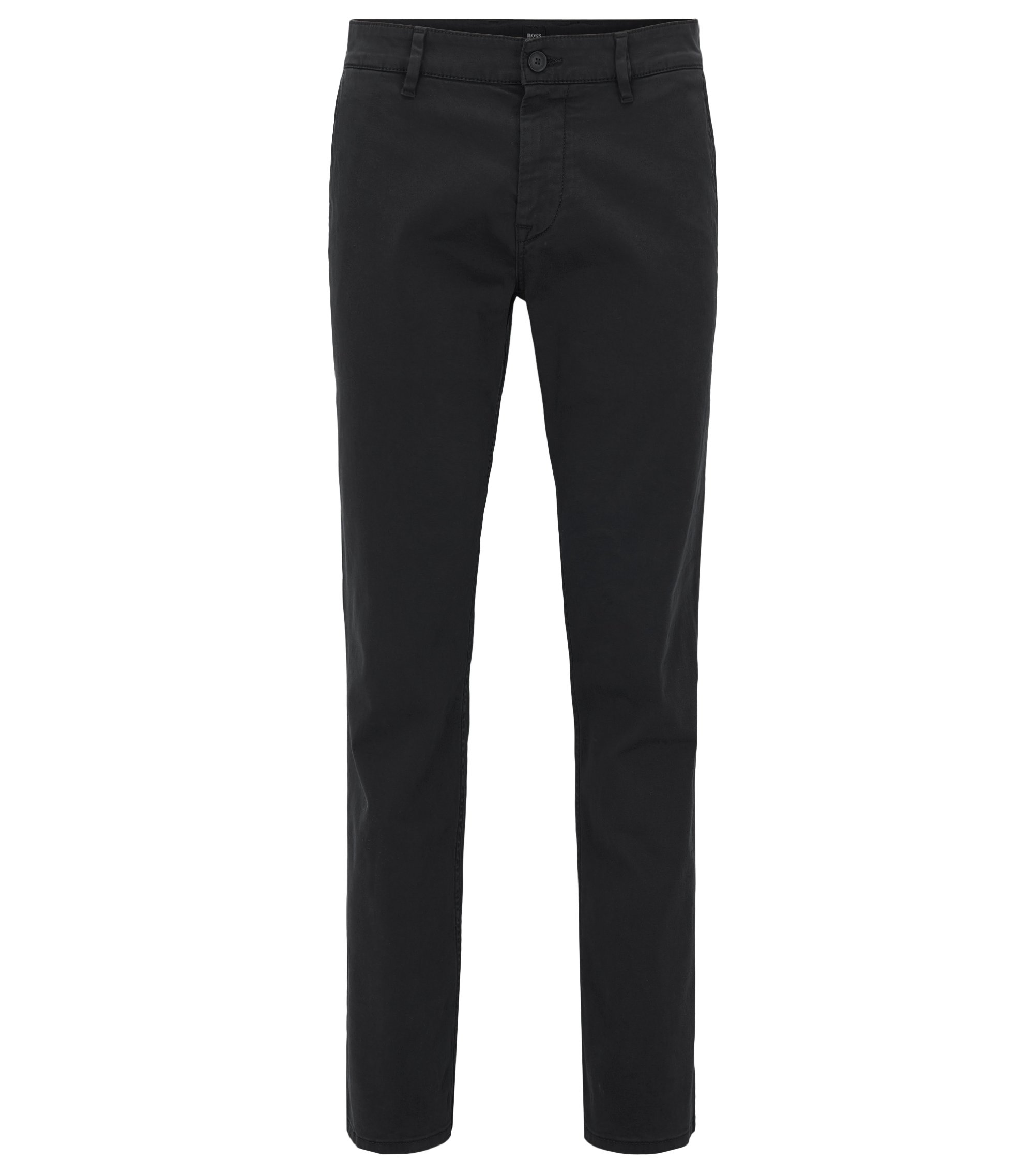 Chino casual Regular Fit en coton stretch brossé, Noir