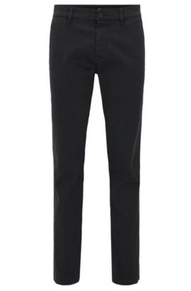 Slim-fit trousers in brushed stretch cotton, Black