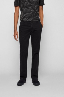 Regular-fit casual chino van geborstelde stretchkatoen, Zwart
