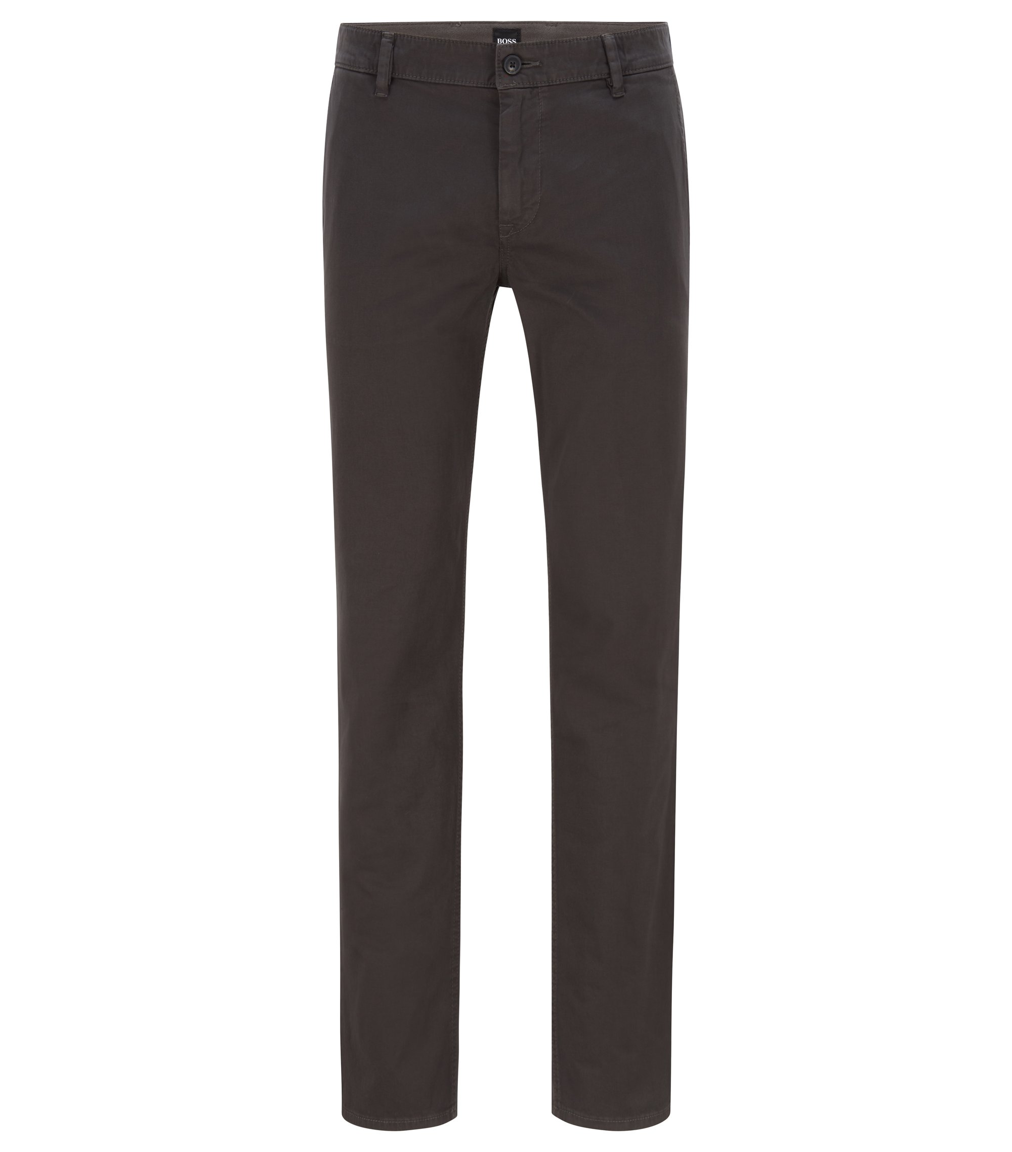 Regular-fit casual chino van geborstelde stretchkatoen, Antraciet