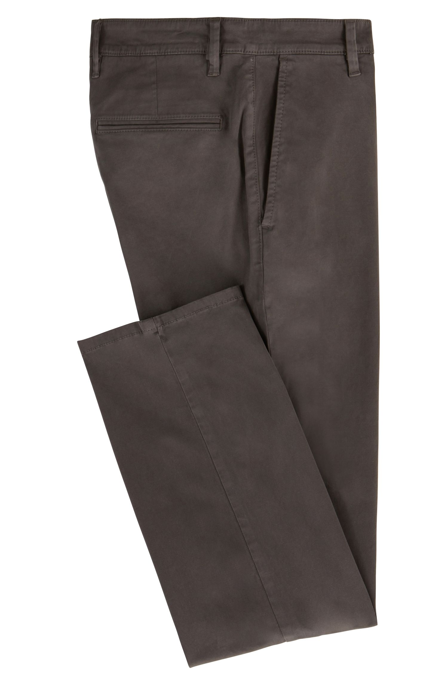 Chino casual Regular Fit en coton stretch brossé, Anthracite