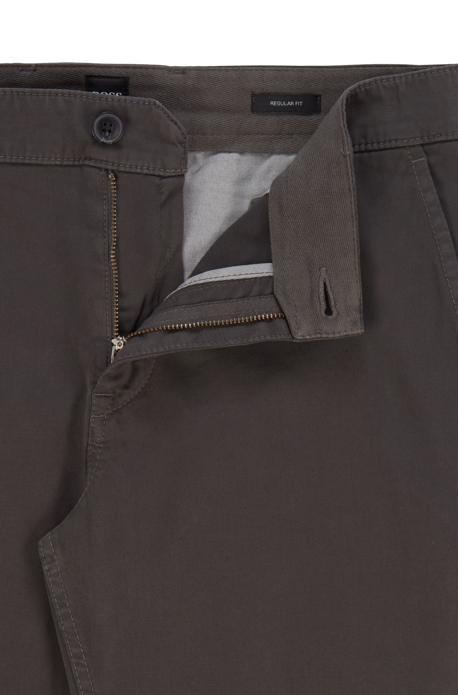 Regular-fit casual chinos in brushed stretch cotton, Anthracite
