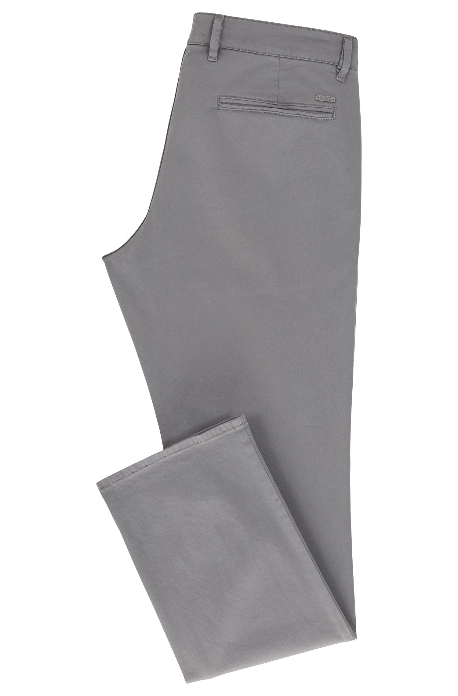 Regular-Fit Casual-Chino aus angerauter Stretch-Baumwolle, Grau