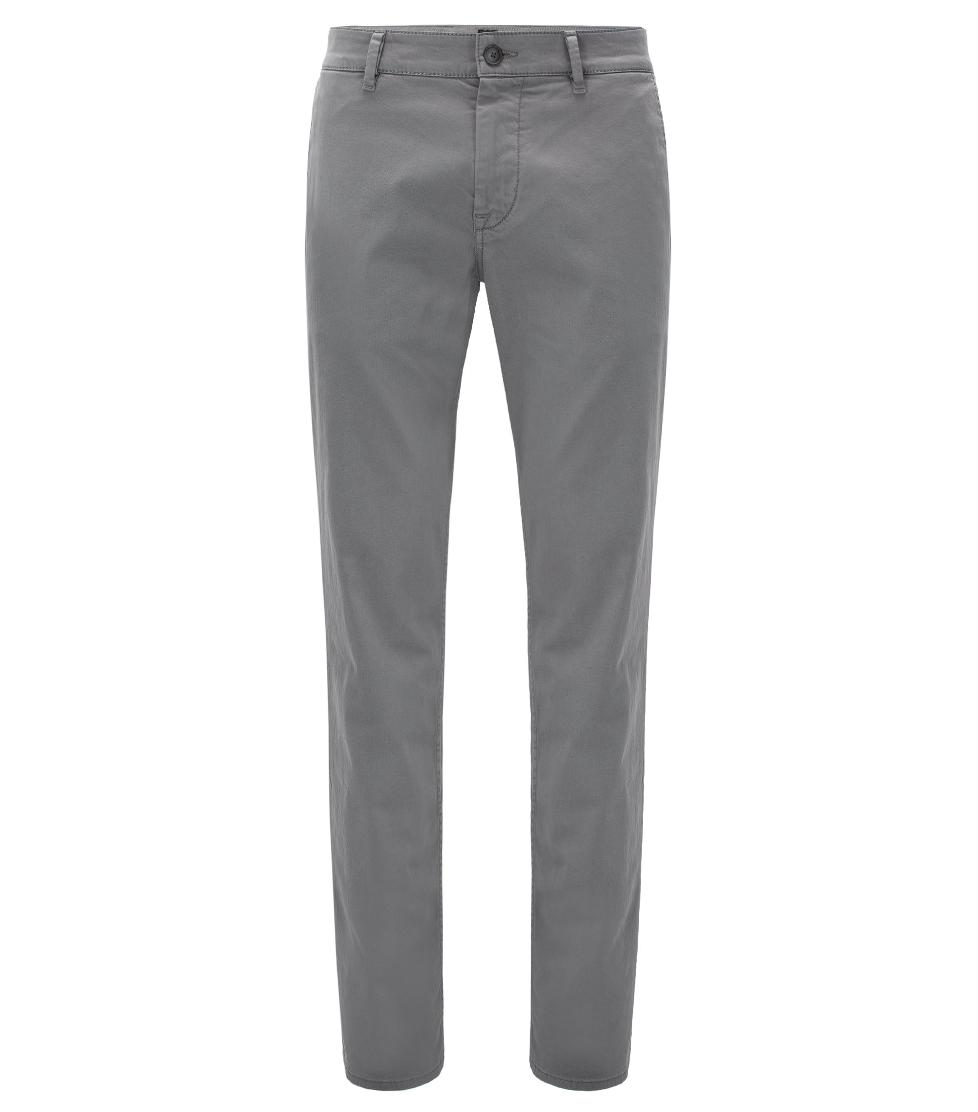 Slim-fit trousers in brushed stretch cotton, Grey