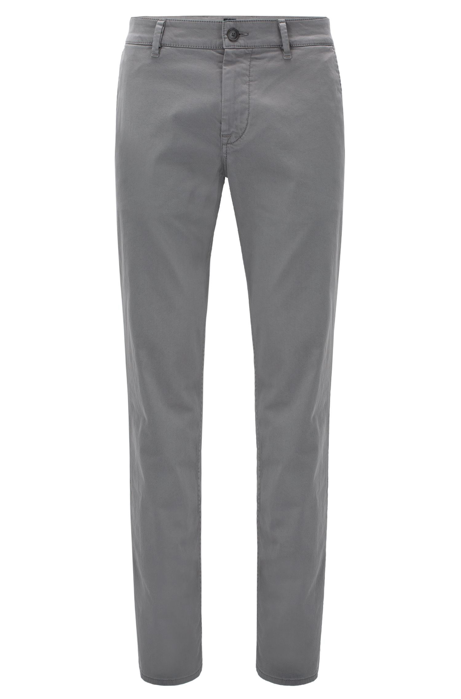 Regular-fit casual chinos in brushed stretch cotton, Grey