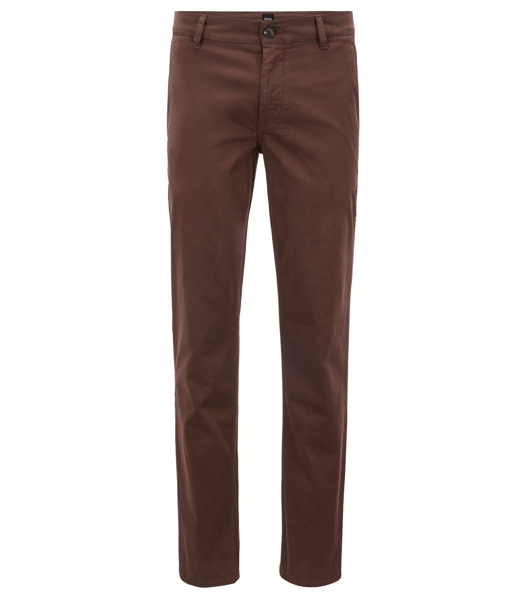 Regular-fit casual chinos in brushed stretch cotton, Dark Brown