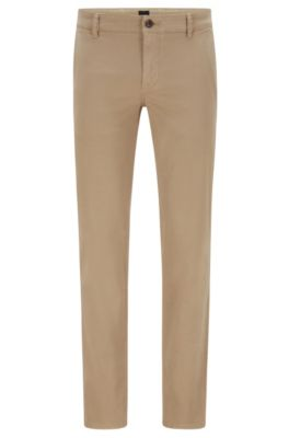 Chino casual Regular Fit en coton stretch brossé, Beige