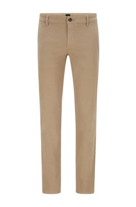 Regular-Fit Casual-Chino aus angerauter Stretch-Baumwolle, Beige