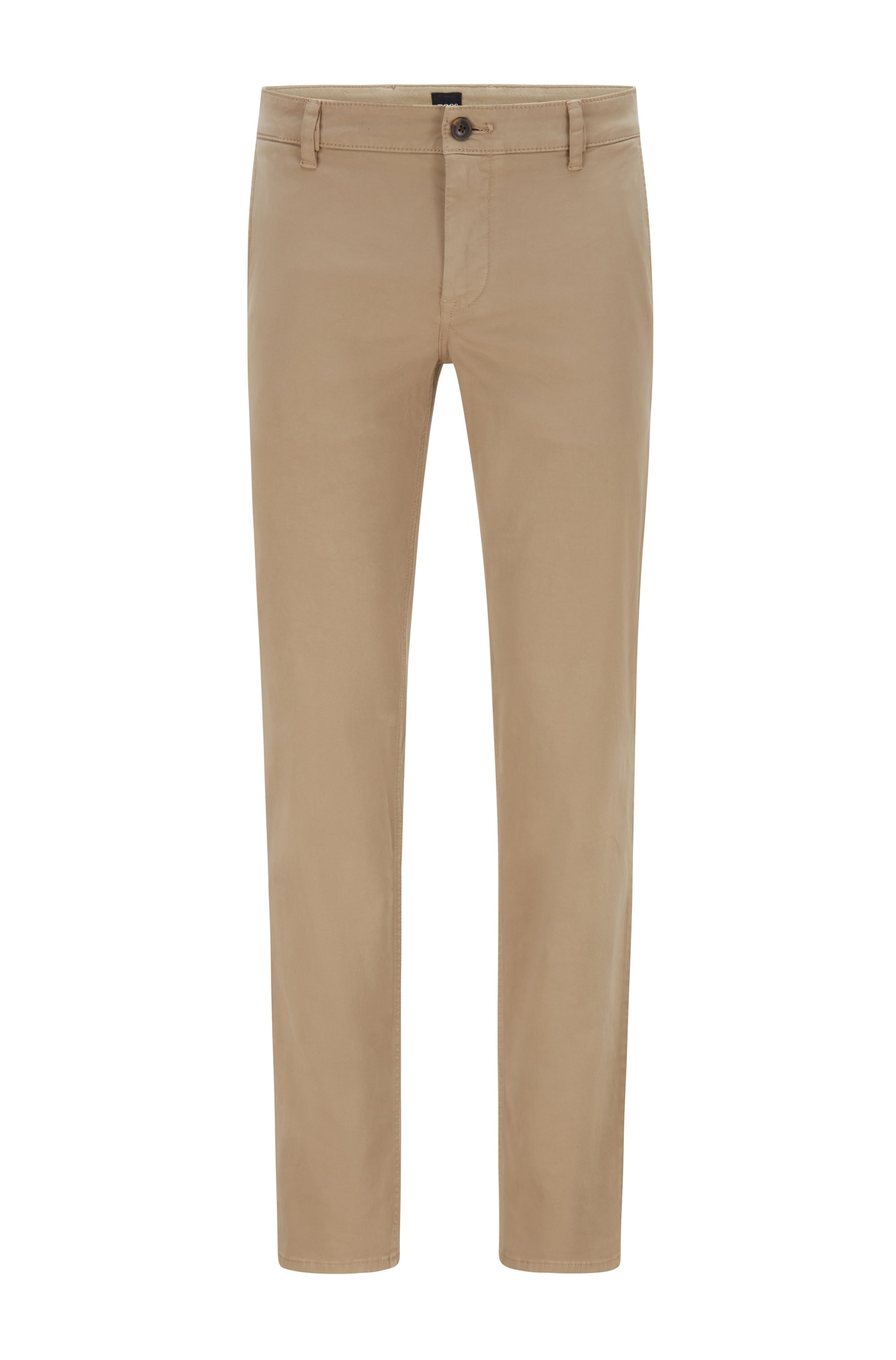 Regular-fit casual chino van geborstelde stretchkatoen, Beige