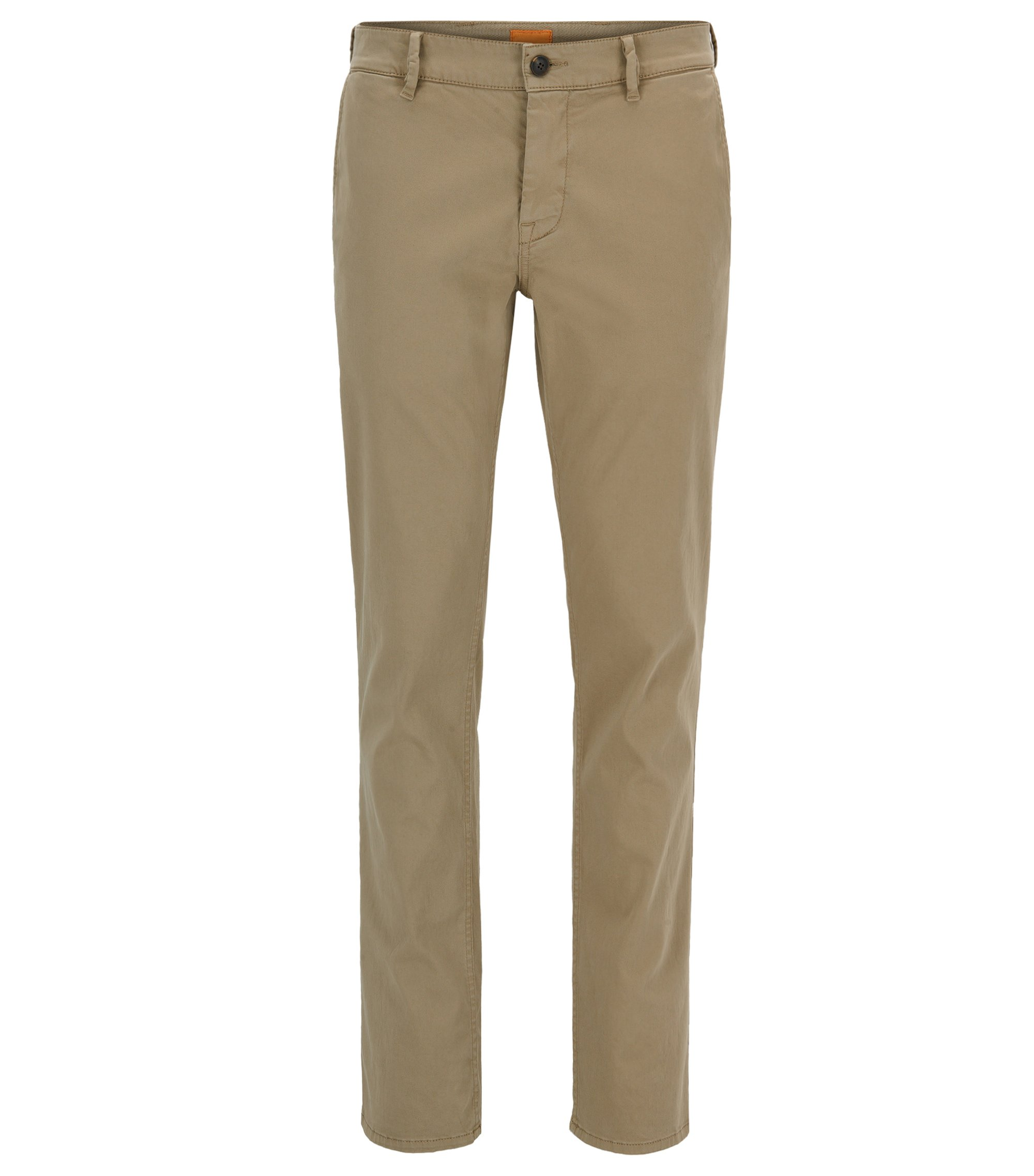 Regular-fit casual chino van geborstelde stretchkatoen, Lichtbruin