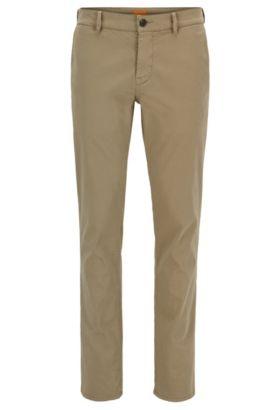 Pantalones slim fit en algodón elástico cepillado, Marrón claro