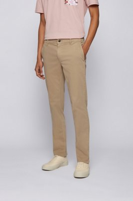 Regular-fit casual chinos in brushed stretch cotton, Beige
