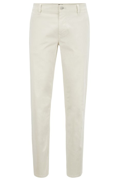 Regular-fit casual chino van geborstelde stretchkatoen, Lichtbeige