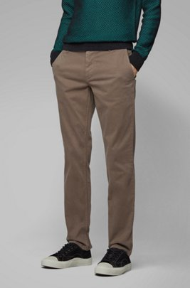 Chino casual Regular Fit en coton stretch brossé, Brun chiné