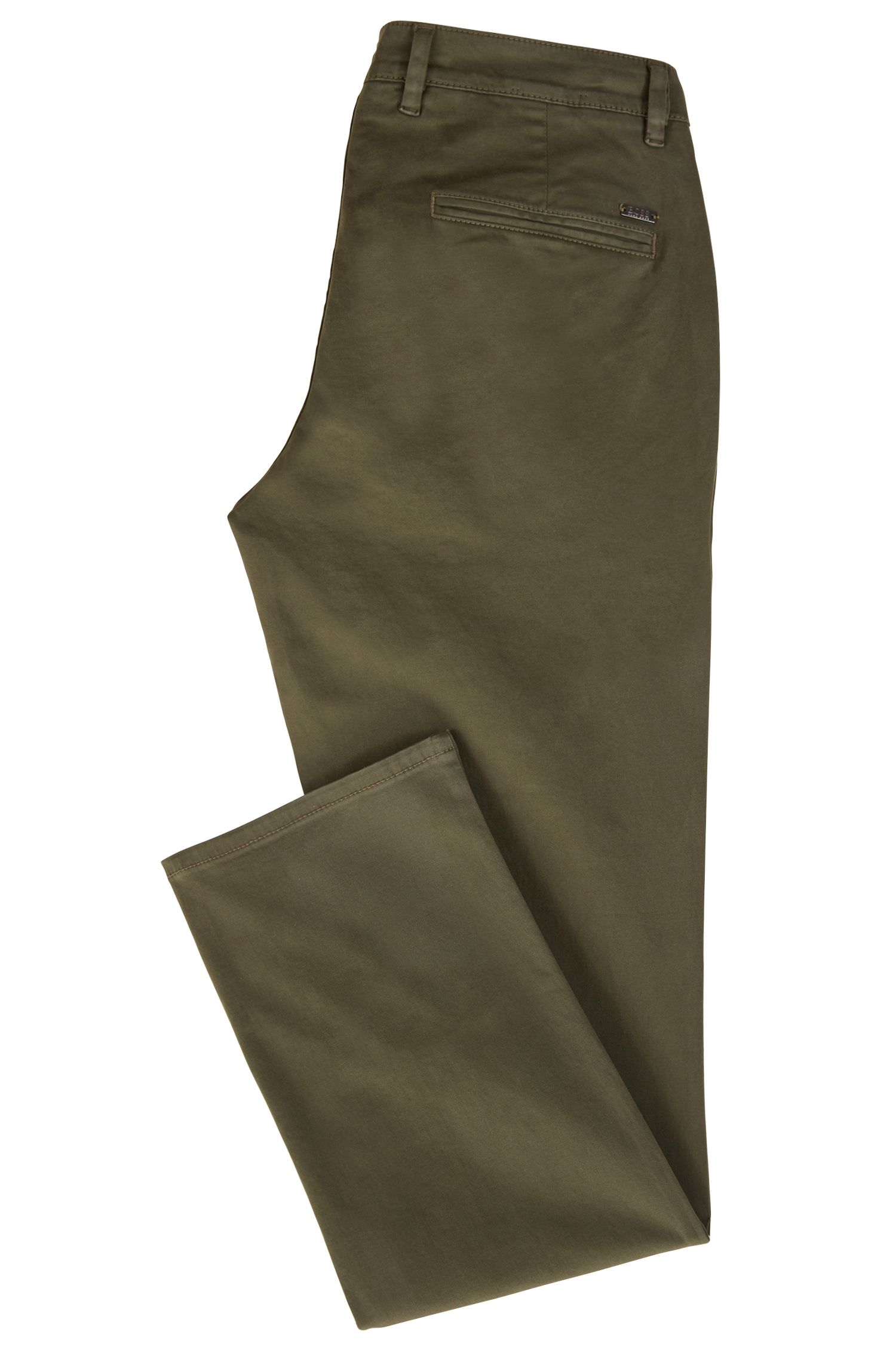 Regular-fit casual chinos in brushed stretch cotton, Dark Green