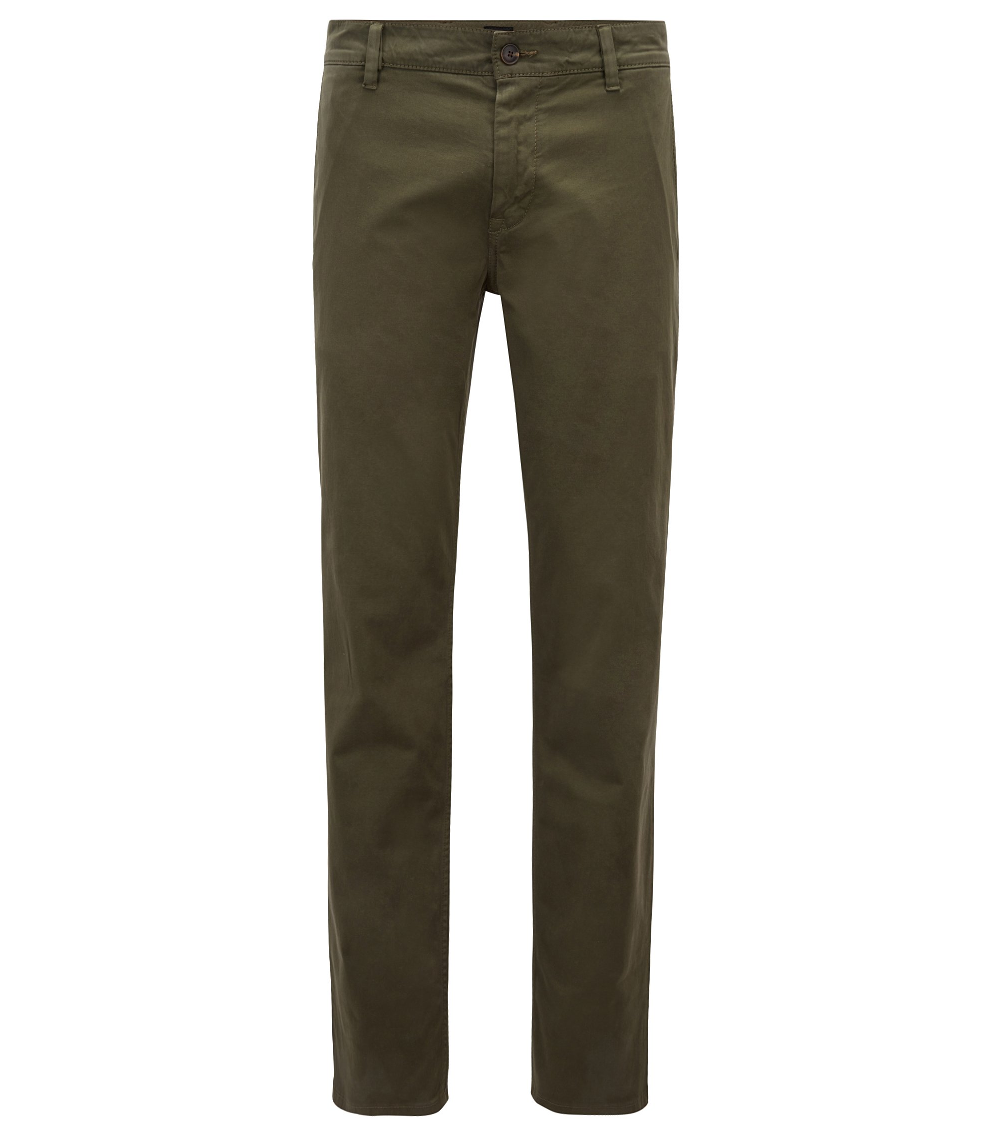 Regular-Fit Casual-Chino aus angerauter Stretch-Baumwolle, Dunkelgrün