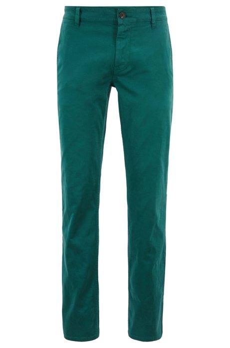 Chinos casual regular fit en algodón elástico cepillado, Verde oscuro