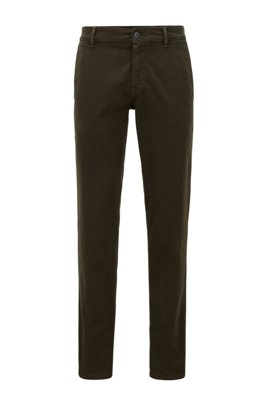 Regular-fit casual chinos in brushed stretch cotton, Green