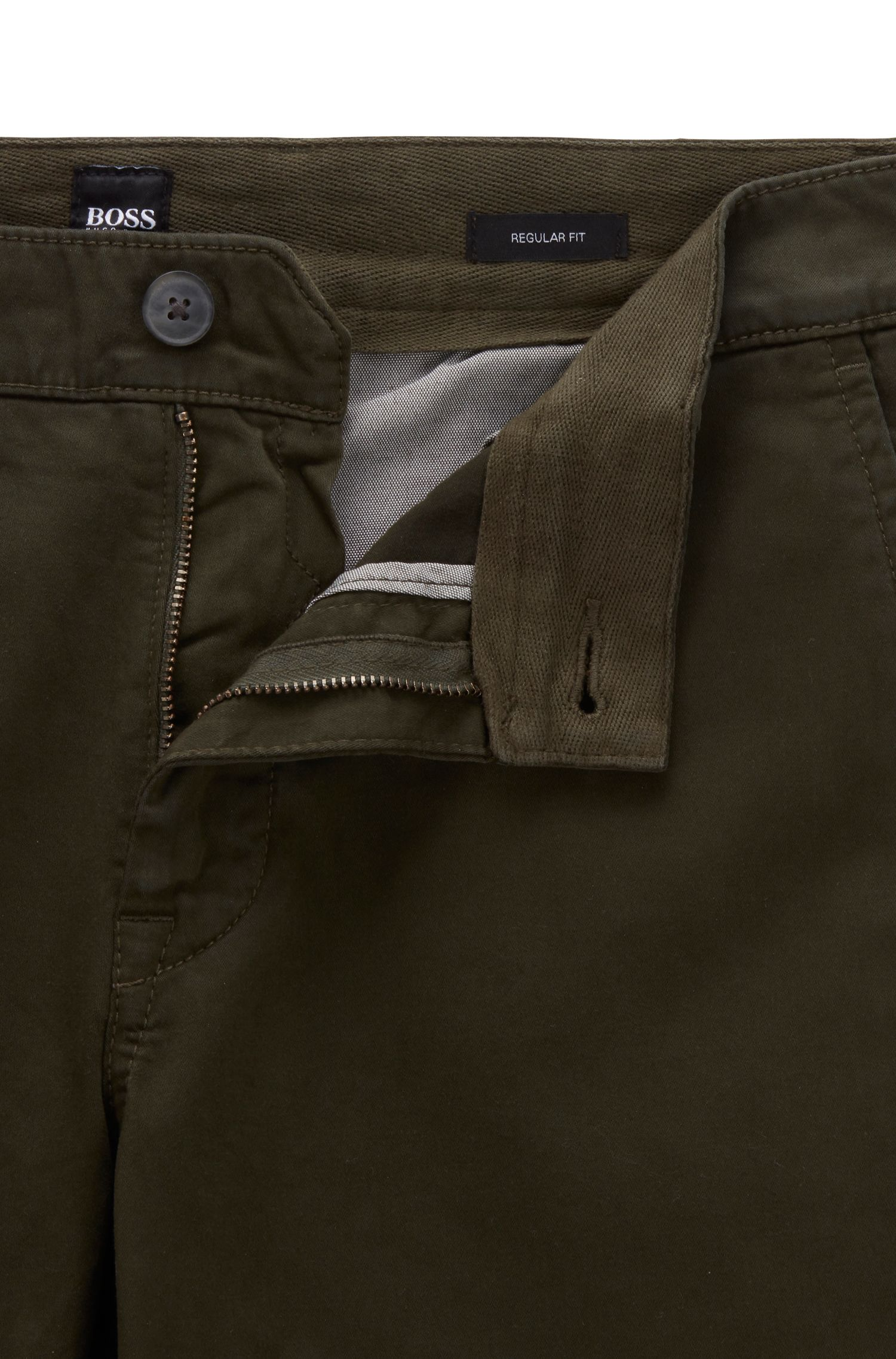 Regular-fit casual chino van geborstelde stretchkatoen, Groen