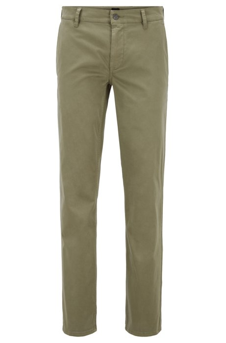 Chino casual Regular Fit en coton stretch brossé, Vert
