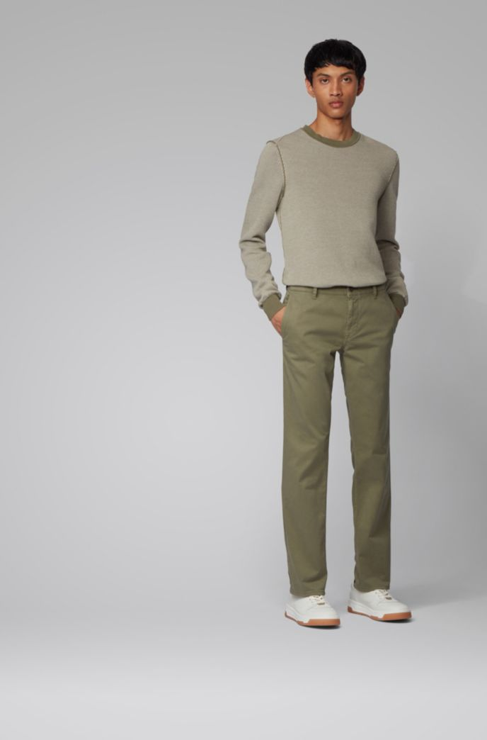 Regular-fit casual chino van geborstelde stretchkatoen