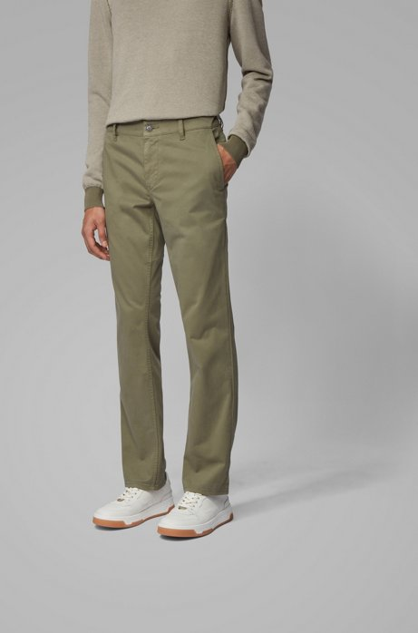Regular-Fit Casual-Chino aus angerauter Stretch-Baumwolle, Grün