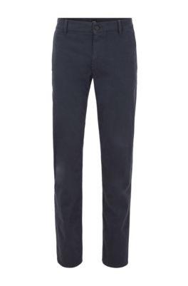 Chinos casual regular fit en algodón elástico cepillado, Azul oscuro