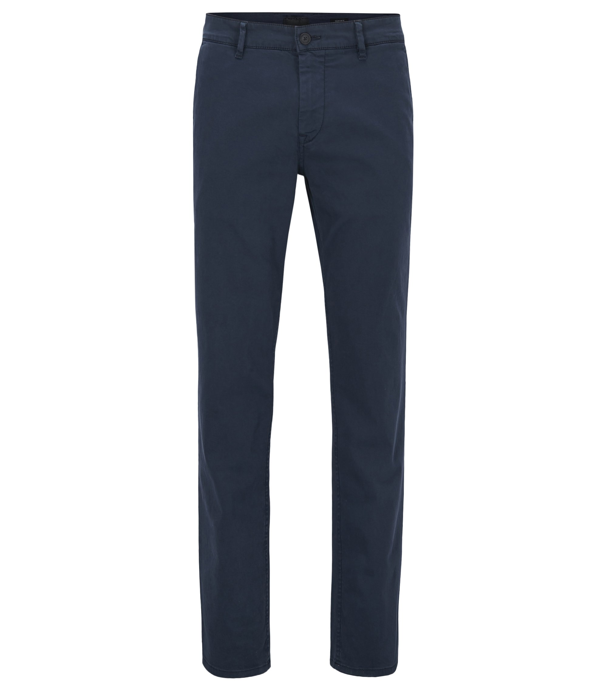 Regular-fit casual chino van geborstelde stretchkatoen, Donkerblauw