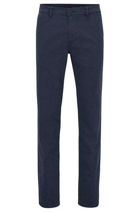 Regular-fit casual chino van geborstelde stretchkatoen, Donkerblauw