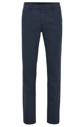 Pantalon Slim Fit en coton stretch gratté, Bleu foncé