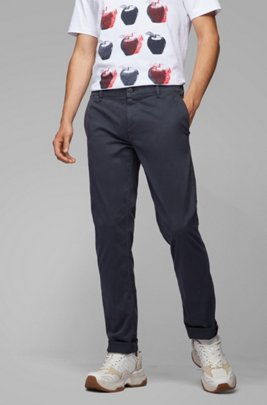 Chino casual Regular Fit en coton stretch brossé, Bleu foncé