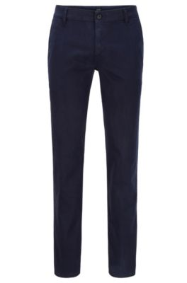 Chino casual Regular Fit en coton stretch brossé, Bleu foncé