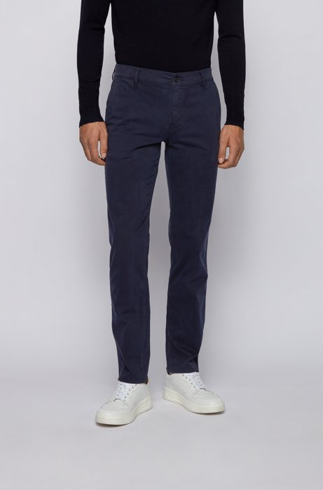 Regular-Fit Casual-Chino aus angerauter Stretch-Baumwolle, Dunkelblau