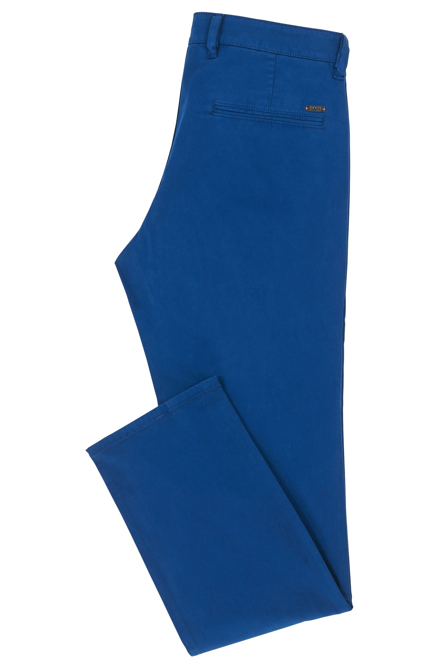 Regular-Fit Casual-Chino aus angerauter Stretch-Baumwolle, Blau