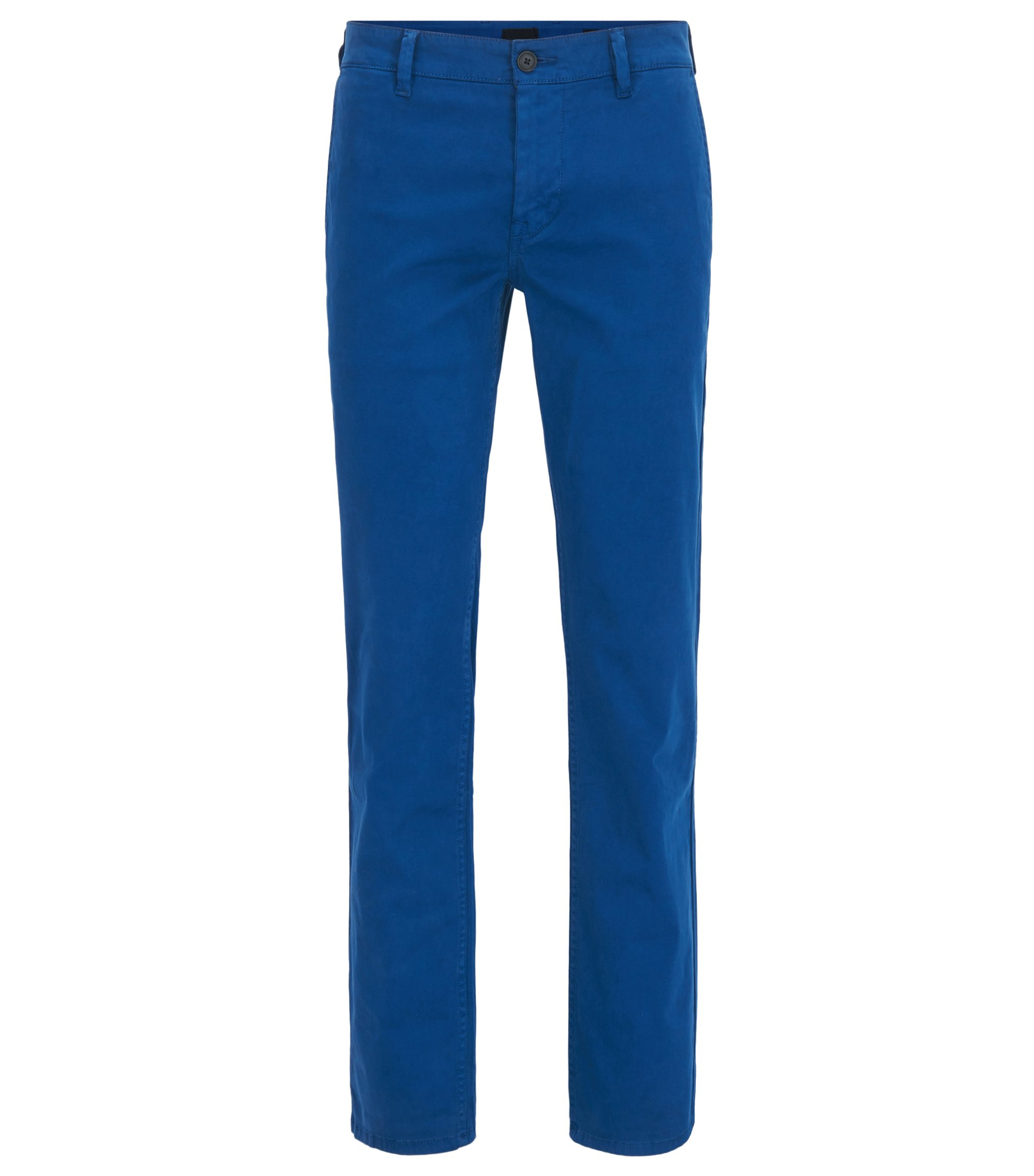 Regular-fit casual chino van geborstelde stretchkatoen, Blauw