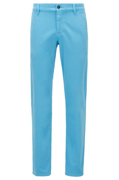 Chino casual Regular Fit en coton stretch brossé, Turquoise