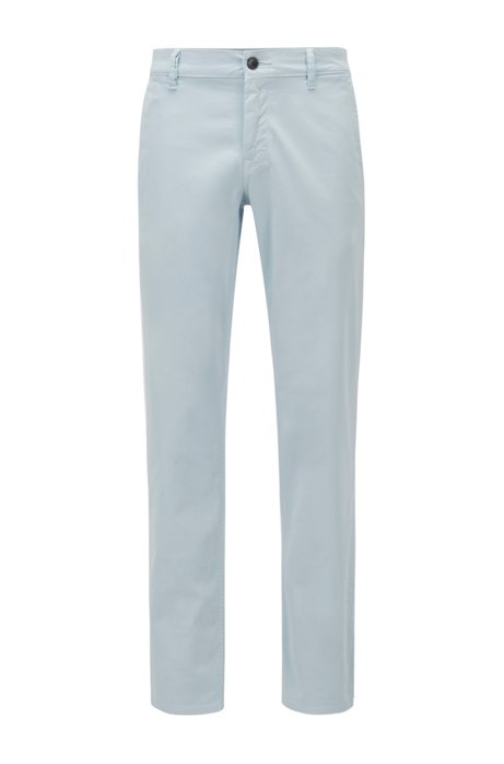 Regular-fit casual chinos in brushed stretch cotton, Light Blue