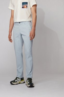 Regular-Fit Casual-Chino aus angerauter Stretch-Baumwolle, Hellblau