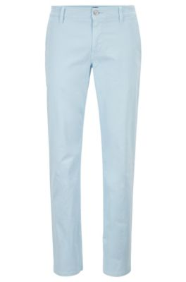 Regular-fit casual chino van geborstelde stretchkatoen, Lichtblauw