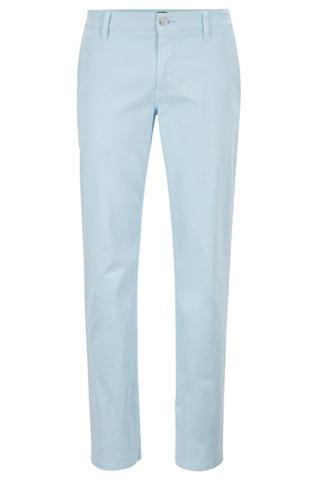 Chino casual Regular Fit en coton stretch brossé, Bleu vif