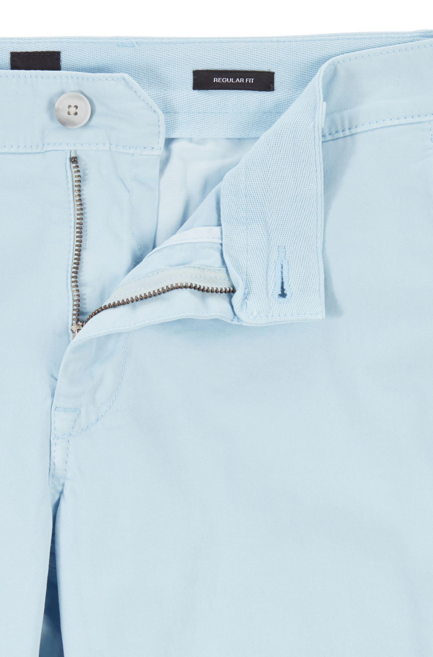 Chinos casual regular fit en algodón elástico cepillado, Celeste