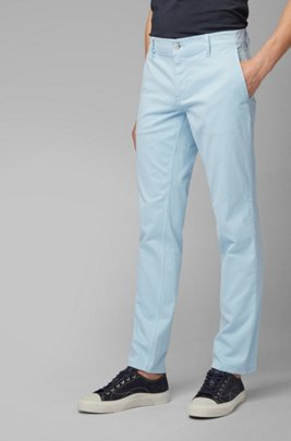 Chino casual Regular Fit en coton stretch brossé, bleu clair