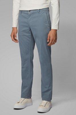 Chinos casual regular fit en algodón elástico cepillado, Azul