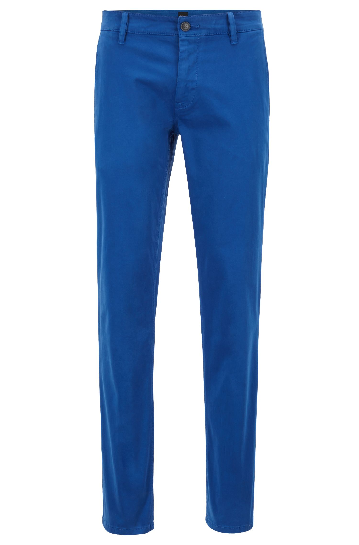 Chino casual Regular Fit en coton stretch brossé, Bleu