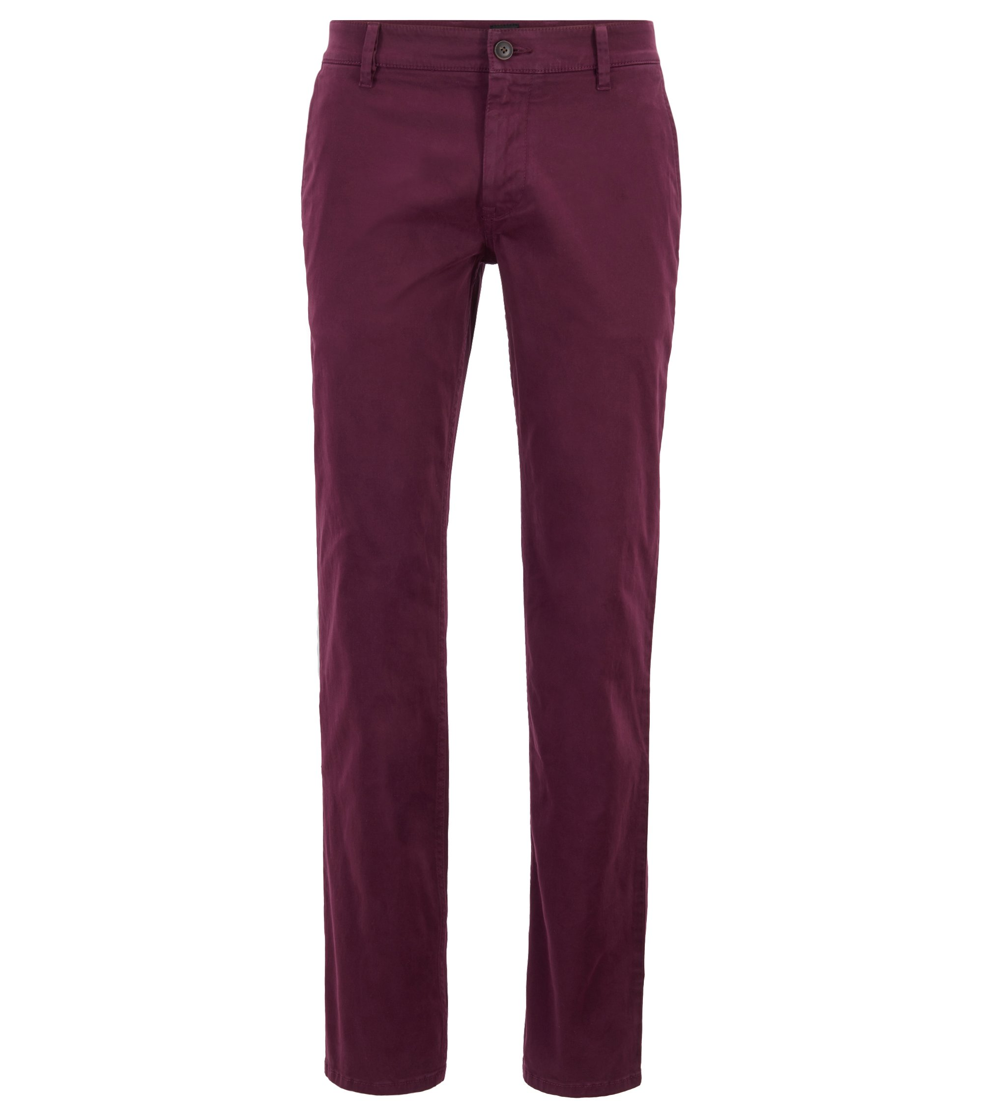 Regular-fit casual chinos in brushed stretch cotton, Light Purple