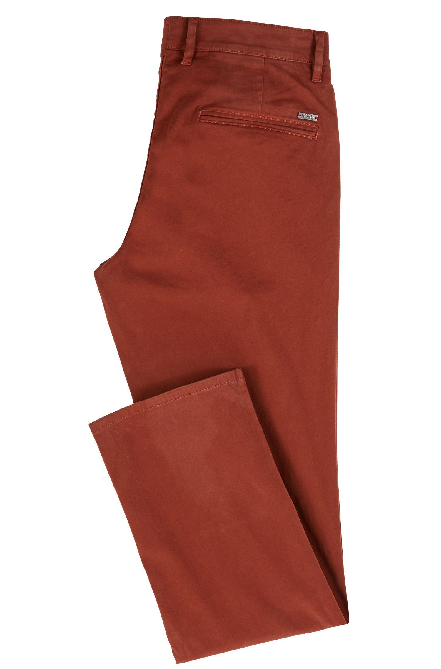 Chino casual Regular Fit en coton stretch brossé, Rouge sombre