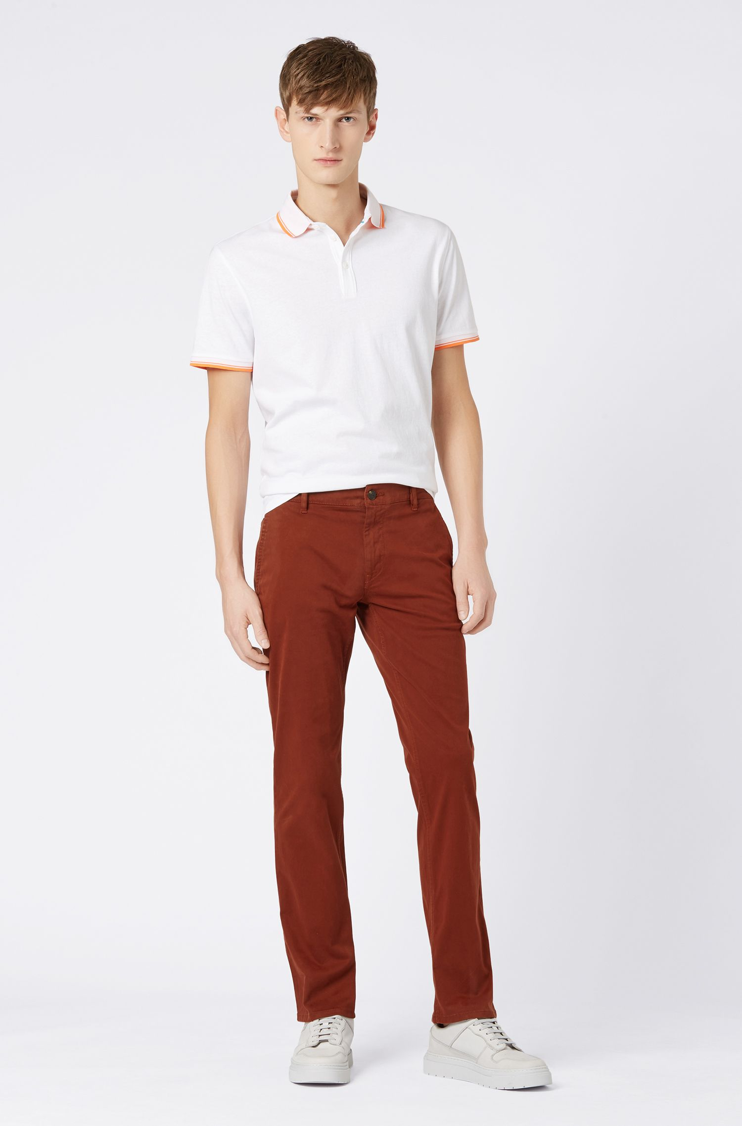 Regular-fit casual chinos in brushed stretch cotton, Dark Red